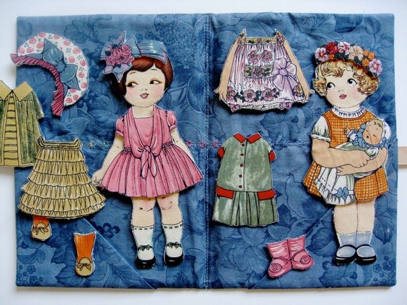 Fabric Paper Dolls   Red Head and Blonde Girls
