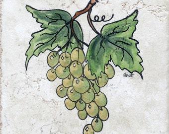 Green Grapes Backsplash Tile Home and Living Sally Rhett Handpainted Ceramic Tile 6x6 Ceramics and Pottery Home Improvement Wall Hanging