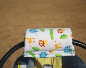 Soft Flannel Infant Car Seat Handle with velcro closure jungle animal theme