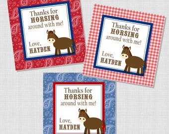 Horsing Around Collection:  Printable Birthday Favor Tag