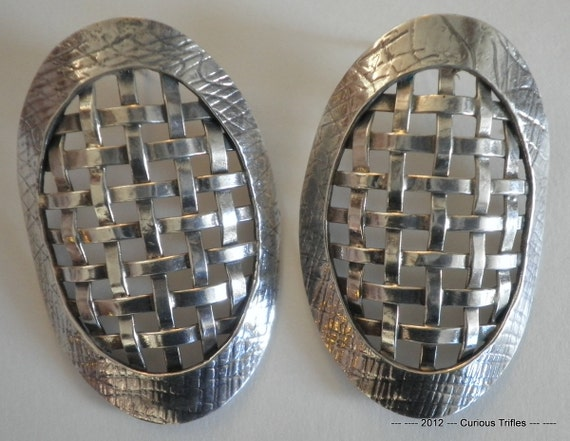 Sterling Silver Yvonne Giambrone Basket Weave Earrings