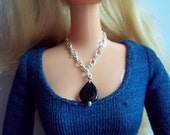 Necklace for Barbie Genuine Black Tourmaline and Sterling Silver