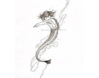 Mermaid Greeting Card Little Girl - Repro Charles Robinson