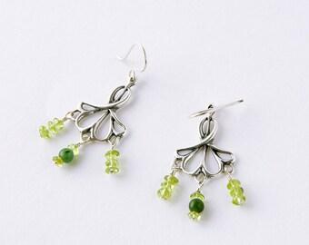 Art Nouveau Victorian Style Chandelier Earrings, Sterling Silver Peridot and Nephrite Jade Steampunk Dangle Earrings, Elvish Bride Earrings