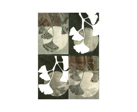 SALE CIJ: blank note card set of 4, original botanical monoprints