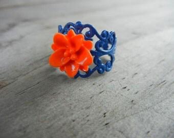 Orange Rose on Purple Filigree Ring