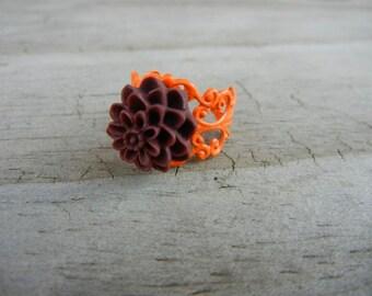 Burgundy on Orange Flower Filigree Ring