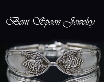 Silver Spoon Bracelet, Spoon Jewelry, Silverware Bracelet, Silverware Jewelry - 1908 La Vigne GRAPES