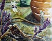 Saddlebags, Sparrow, Pumpkins II Watercolor Painting