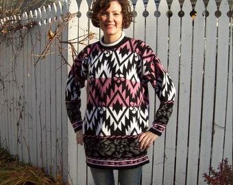 Super Rad 80s Southwestern Print Roll Neck Sweater