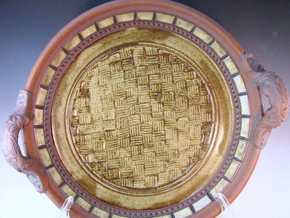 Large  Platter With Weave Design In Center And Glazed On Inside Rim...RESERVED FOR GLORIA