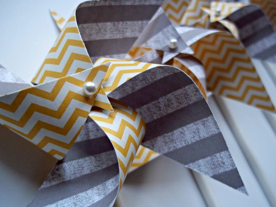 Modern Grey & Yellow Chevron Wedding Pinwheels. Small Spinning Pinwheels. Party Favors or Cake Toppers (set of 9)