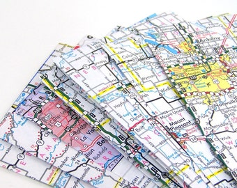 Map Envelopes, Upcycled road maps, self seal with labels, set of 6
