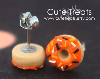 Halloween jewelry - Doughnuts stud earrings hypoallergenic (Surgical Steel)