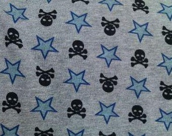Rock Punk Skulls Crossbones & Blue STars on Heather Grey Cotton Lycra Knit FAbric