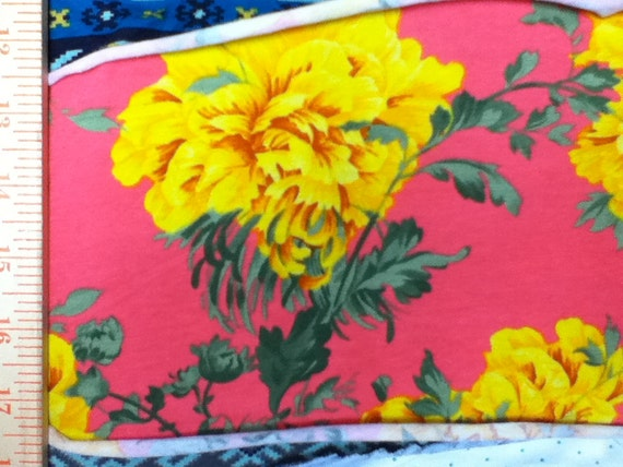 Gorgeous Yellow Cottage Roses on Hot pink cotton Lycra Knit Fabric
