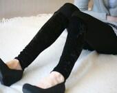 CLEARANCE SALE - Black crushed velvet leggings, half velvet, half cotton