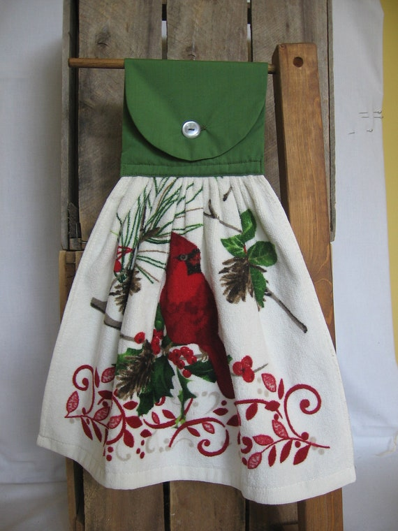Red Cardinal Kitchen Towel Christmas Kitchen Hanging Towel with Cardinal