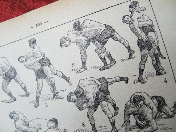 French Wrestling print illustration