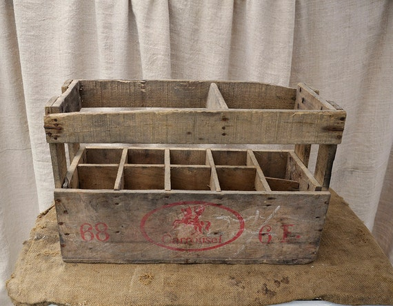 RESERVED for K Wooden Bottle carrier crate Vintage French