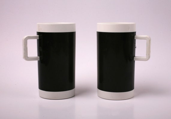 Pair of Braniff Airlines First Class Coffee Cups, Black Plastic, 1960s 1970s