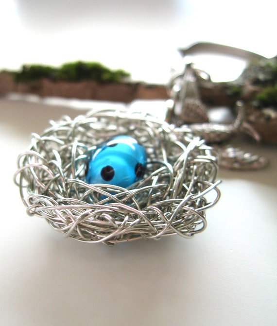 Speckled Egg Nest Silver Bird Venetian glass, new mothers jewelry and accessories, gift for grandmother, mom