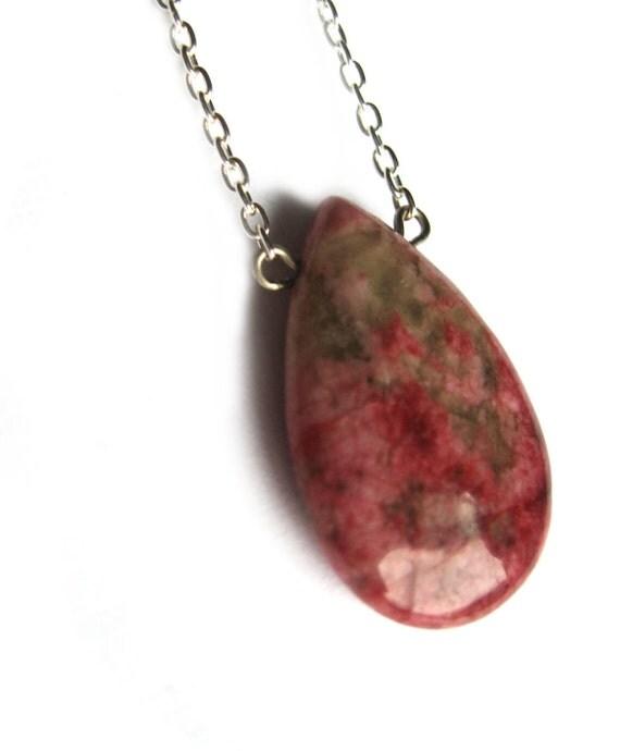 Teardrop pendant necklace, natural stone pendant, pastel pink, fuchsia and green Rhodonite Jasper Bead, Earthy Woodland Jewelry