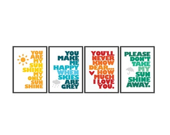 You are my sunshine - Set of four 13x19 Prints - Yellow - Blue - Orange - Green