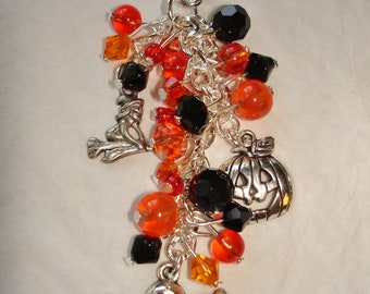 Cute Ghost Crystal Beaded Purse Charm for Halloween, in Black and Orange.  Free shipping