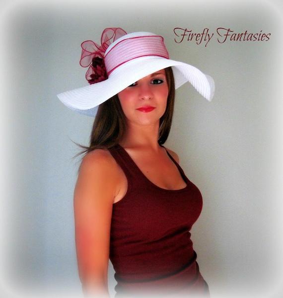 White Floppy Hat with flowers, Sun, Straw hat, Tea, Garden Party, Kentucky Derby, Wedding, Church