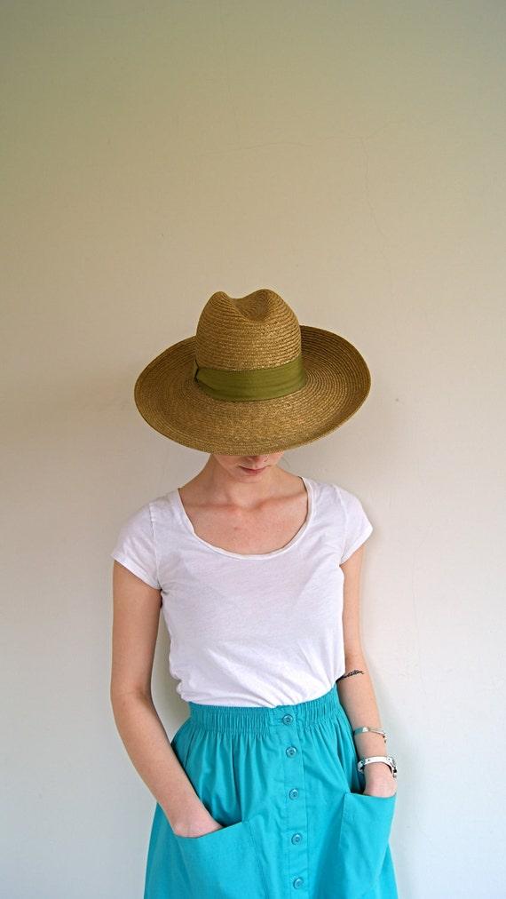 Vintage Straw Hat. 1980s. Green Wide Brim Hat.