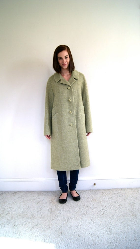 RESERVED. ON SALE. 1960s / 60s Boucle Coat. Mint Green. Medium / Large.