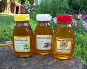 Raw Honey Sampler - Fall, Lavender Infused, and Lemon Verbena Infused Honey -three 8 ounce bottles