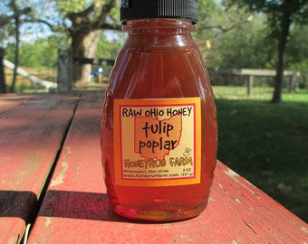 Pure Raw Ohio Tulip Poplar Honey -8 ounce jar