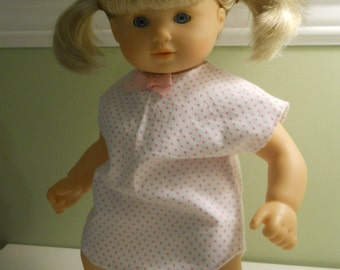 15 inch Doll Clothes American Girl Bitty Twins - Pink Polka Dot Nighty