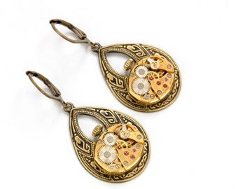 Steampunk Earrings GOLD BULOVA Steampunk Jewelry Vintage Watch Earrings Antique Brass Earrings Steam Punk Jewelry by Victorian Curiosities
