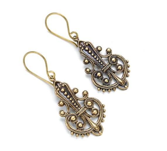 BOHO Earrings Filigree Earrings Antique Brass Gypsy Earrings Dangle Earrings Boho Jewelry Bohemian SteamPunk Jewelry by VictorianCuriosities