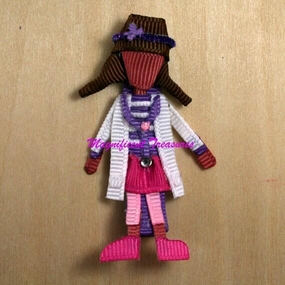 Doc McStuffins Inspired Ribbon Sculpture Hair Clip