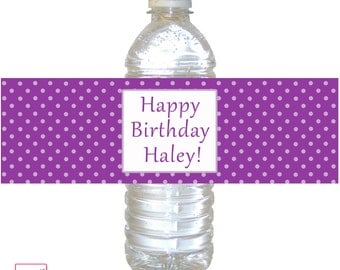 Printable Personalized Polka Dots Purple Water Bottle Labels Wrappers - Birthday Party Baby Shower Baptism Boy Girl Custom Wraps Any Color