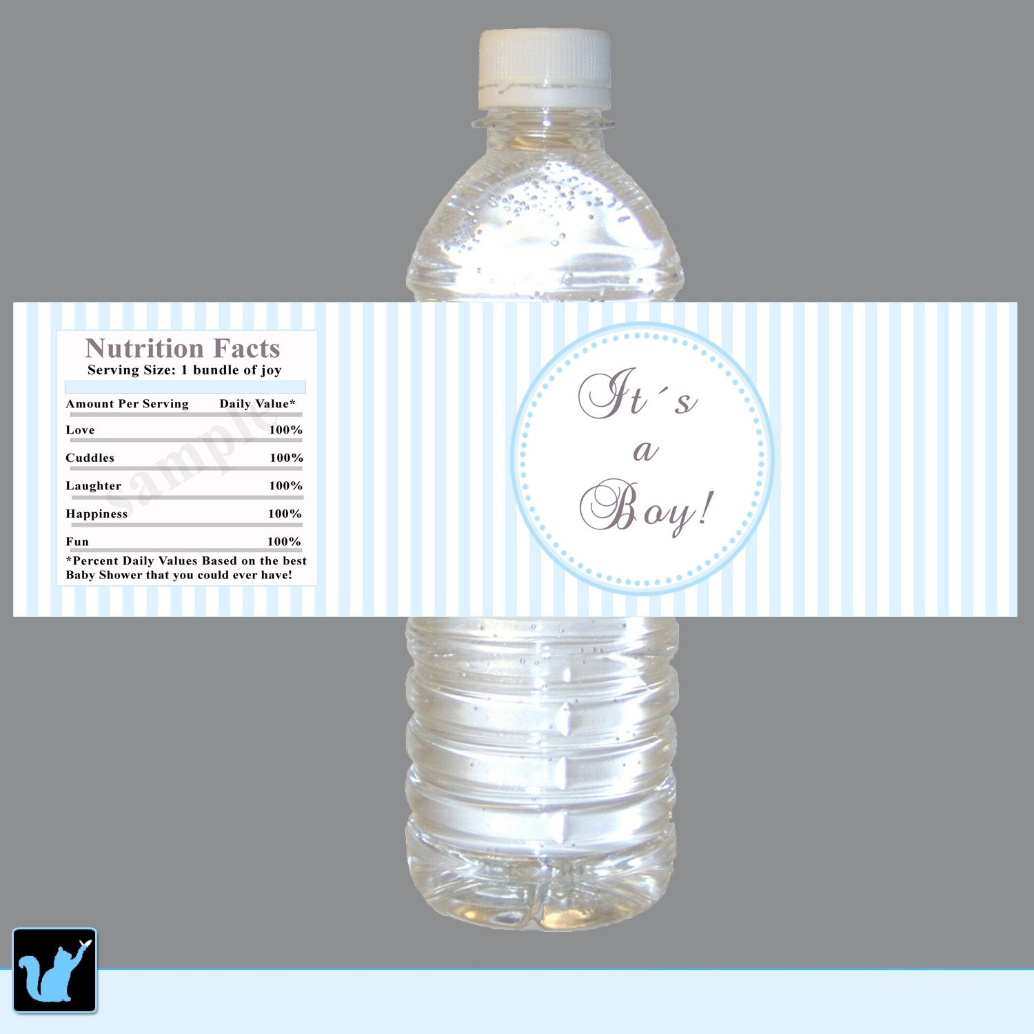 INSTANT DOWNLOAD Blue Stripes Baby Shower Water by pinkthecat