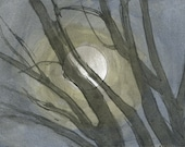 Digital Print: Full Moon Caught by Branches