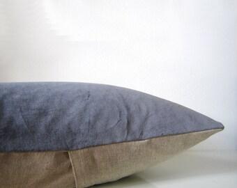 Decorative velvet pillow in dark gray and natural linen, modern home decor pillow, organic velvet cushion cover