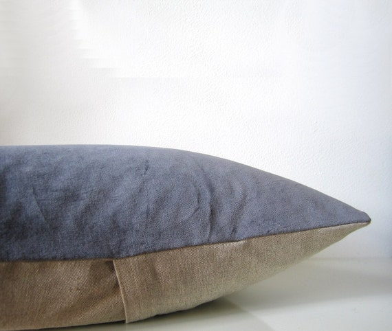 Decorative velvet pillow in dark gray and natural linen, modern home decor pillow, velvet cushion cover - EarthLab