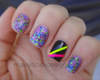 Skinny Strips Nail Decals - YOU PICK COLOR - Set of 40 strips- Nail Vinyls