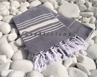 Turkishtowel-Soft-High Quality,Hand Woven,Cotton Bath,Beach,Pool,Spa,Yoga,Travel Towel or Sarong-Ivory Stripes on Black