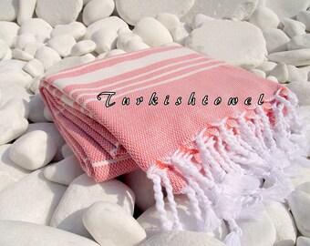 Turkishtowel-Soft-High Quality,Hand Woven,Cotton Bath,Beach,Pool,Spa,Yoga,Travel Towel or Sarong-Ivory Stripes on Powder Peach