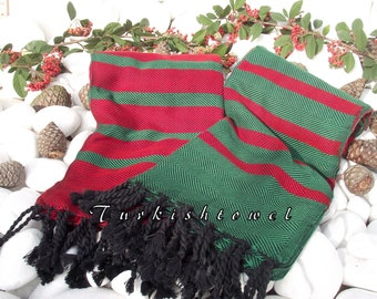 Set of 2-Christmas Colors-Turkishtowel-Soft-Highest Quality,Pure Organic Cotton,Hand Woven,Bath Towel or Sarong-Red,Green,Black