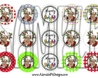 Merry and Bright Digital Bottle Cap Images