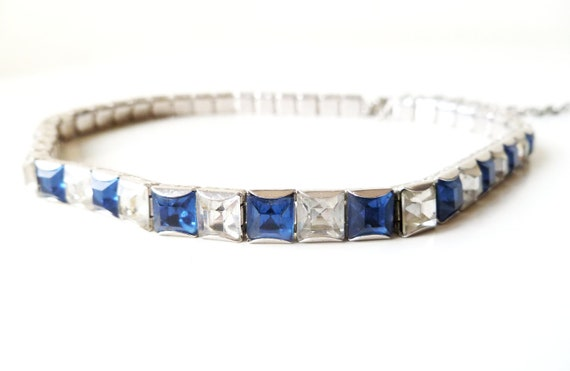 Art Deco Blue and Clear Princess Cut Choker Necklace
