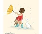 Children's Wall Art Print - Kids Decor - Wall Art Illustration - Girl's nursery - bunny, rabbit - Girl in the rain, Childhood Series